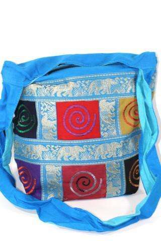 Multi Color Spiral Patchwork & Jacquard with Elephants Sling Jhola Bag