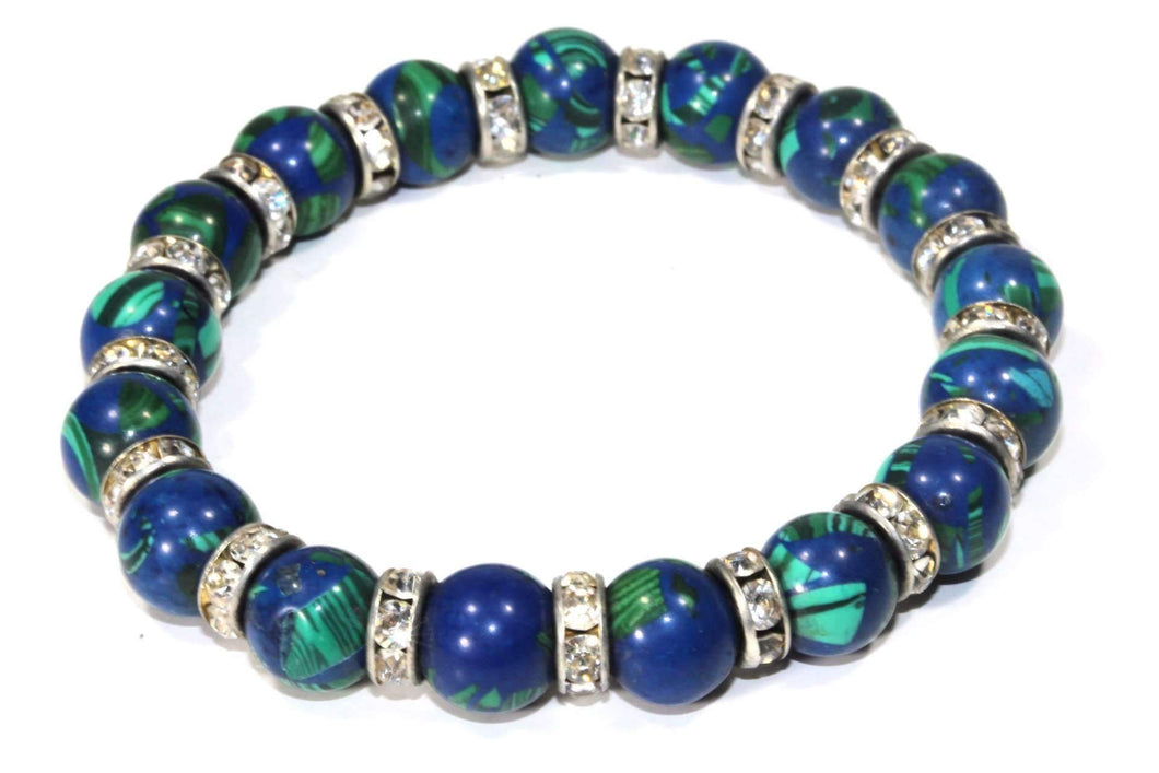 Blue & Green Medley Of Round Agate Stone Sparkle Yoga Bracelet