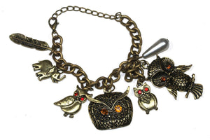 Antique Owl, Elephant & Feather Charm Bracelet