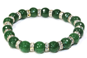 Green Medley Of Round Agate Stone Sparkle Yoga Bracelet