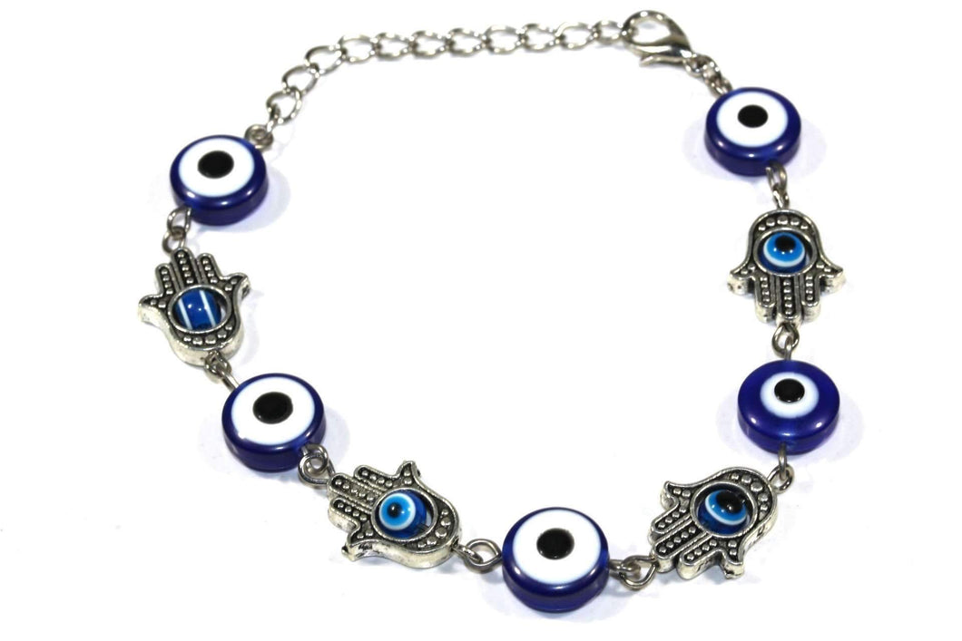 Blue Hamsa Hands & Evil Eye Marbled Bead Bracelet