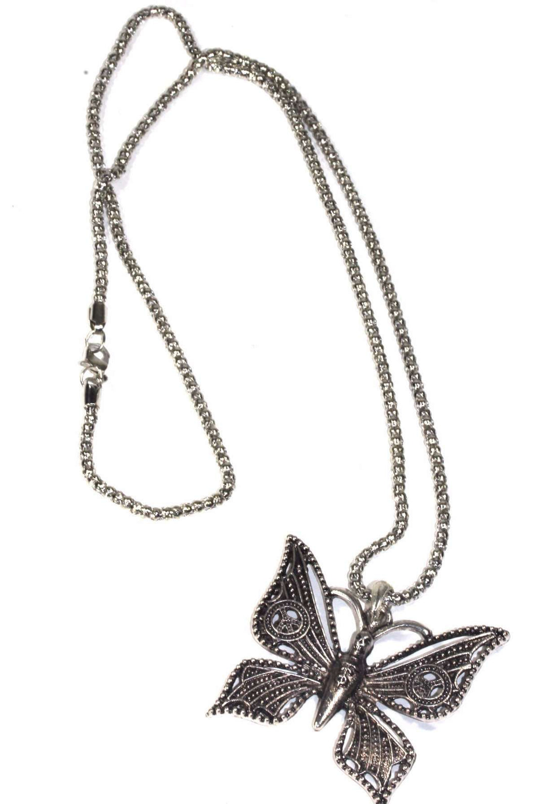 Silver Tone Peace Winged & Skull Head Butterfly Necklace