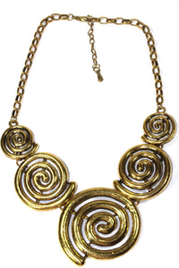 Antique Five Spiral Pendants Statement Necklace