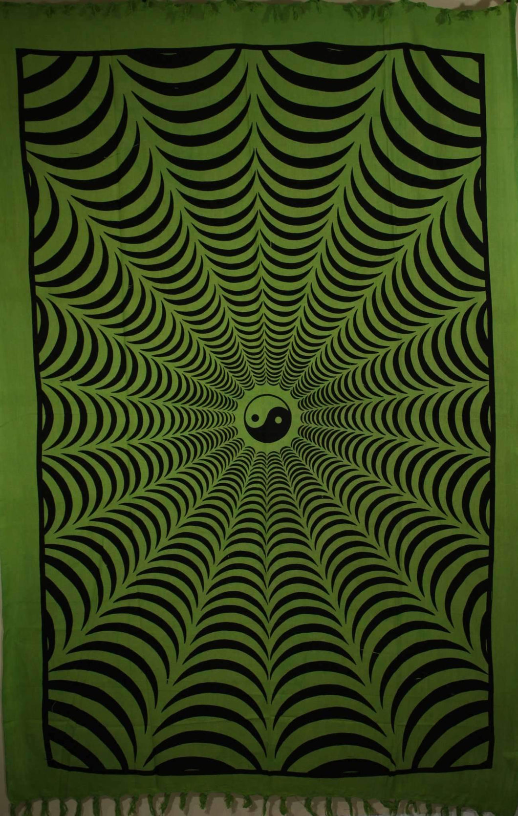 Green Trippy Yin Yang 3D Hand-loom Style Tapestry