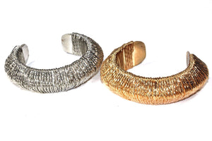 Silver & Gold Tone Woven Cuff Bangle Set