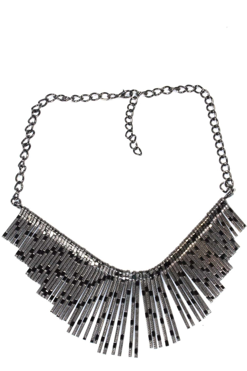Antique Silver Shimmering Panels Statement Necklace