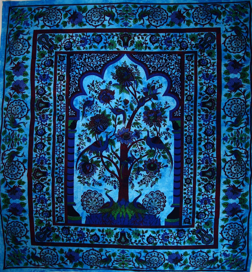 Turquoise Tree of Life Peacock Tapestry