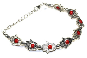 Red Hamsa Hands & Vibrant Bead Bracelet