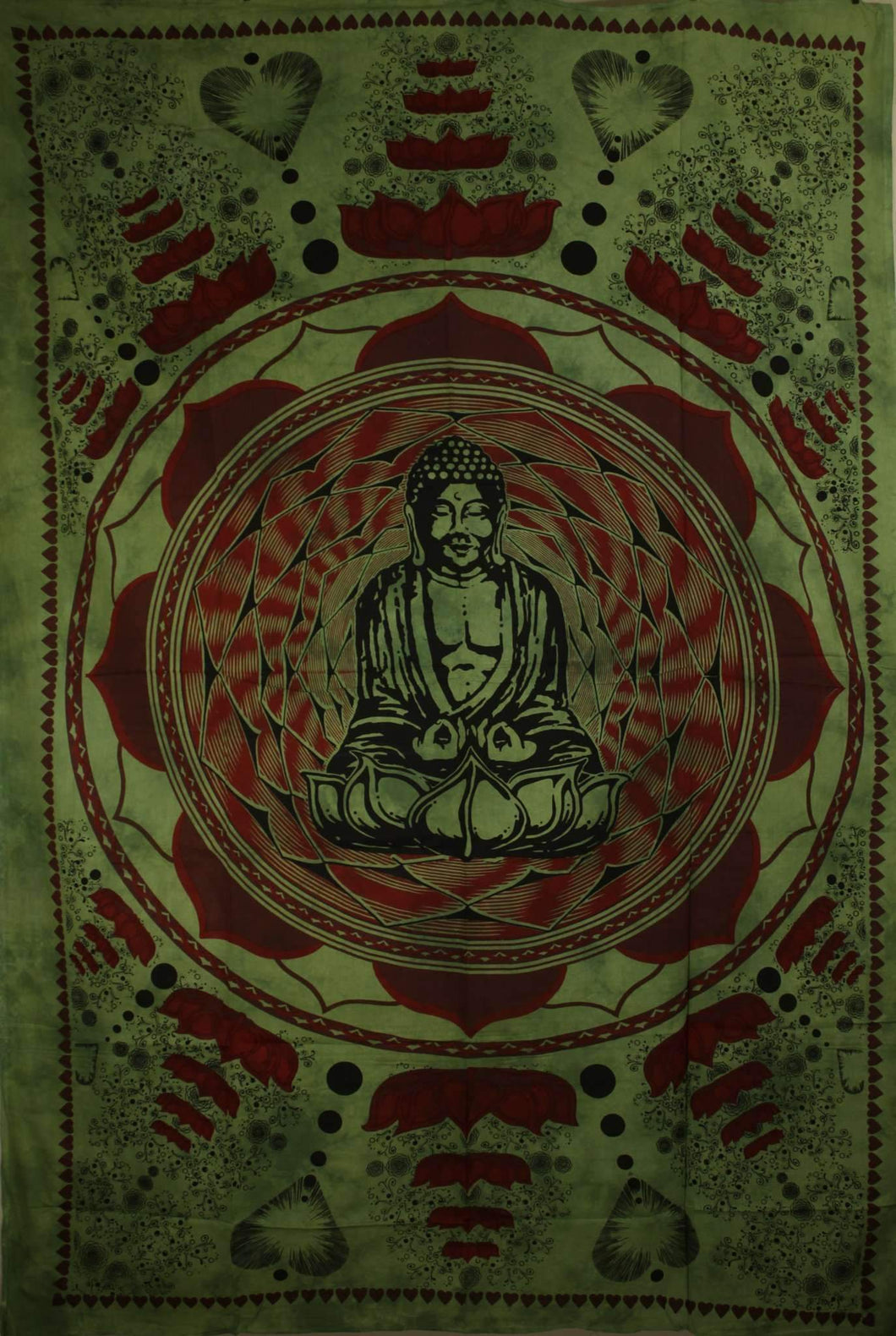 Green Buddha In Dharma Chakra Mudra On A Lotus Flower Tapestry