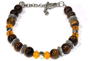 Tigers Eye Stones & Beaded Boho Bracelet