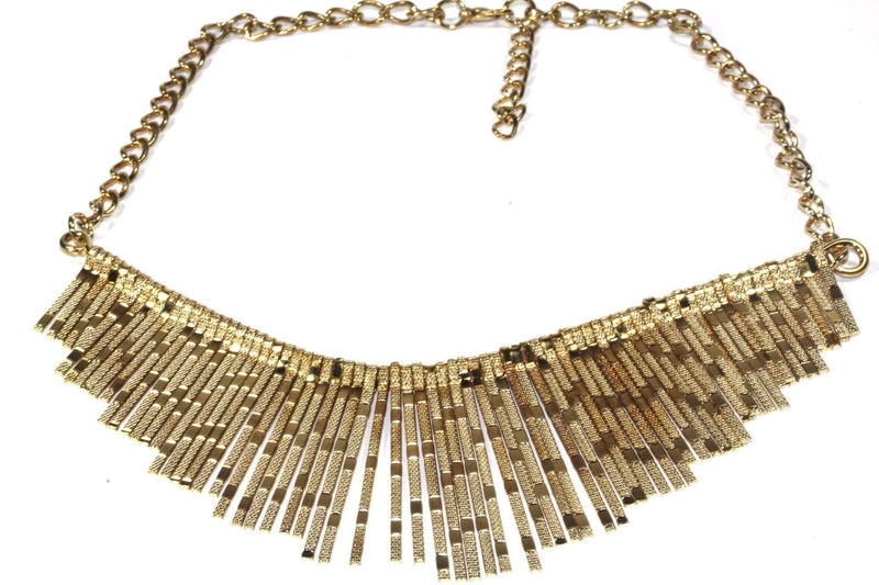 Gold Tone Shimmering Panels Statement Necklace