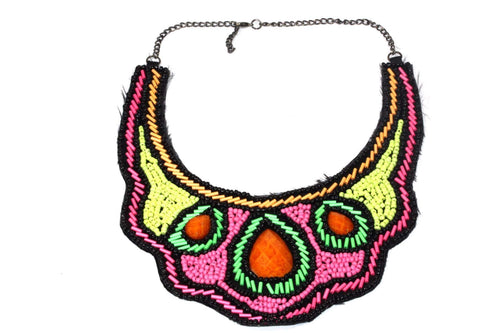 Electric Colors Bib Style Necklace