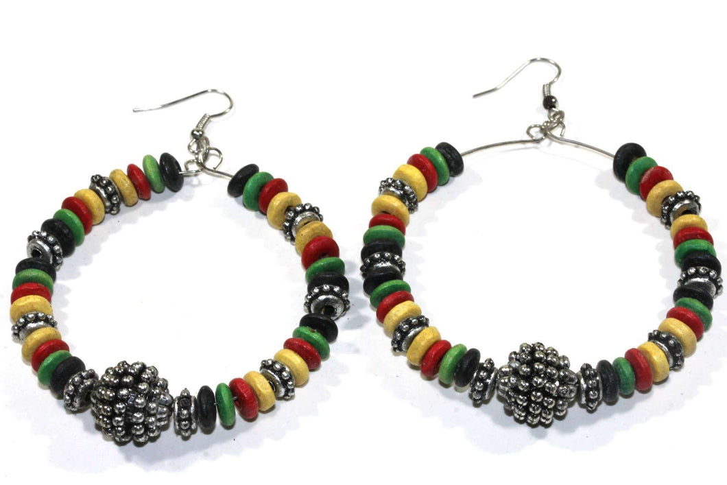Rasta Style Hoop Earrings