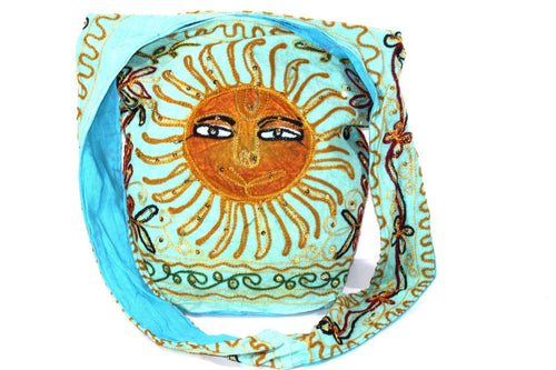 Turquoise Happy Sun Jhola Bag