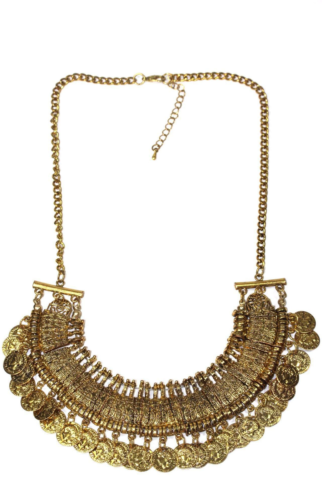 Gold Tone Tribal Style Coin Statement Necklace