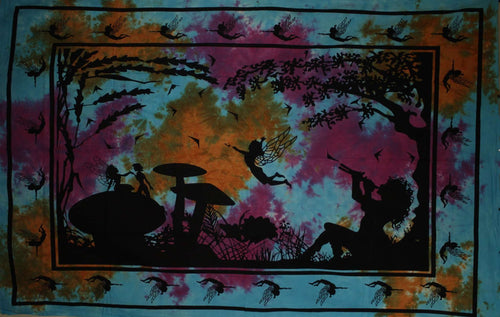 Orange & Turquoise Calling All Fairies Tapestry