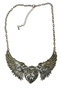 Antique Gold Tone Angel Wings Heart Necklace by Wild Lotus