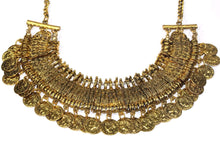Load image into Gallery viewer, Gold Tone Tribal Style Coin Statement Necklace | Wild Lotus
