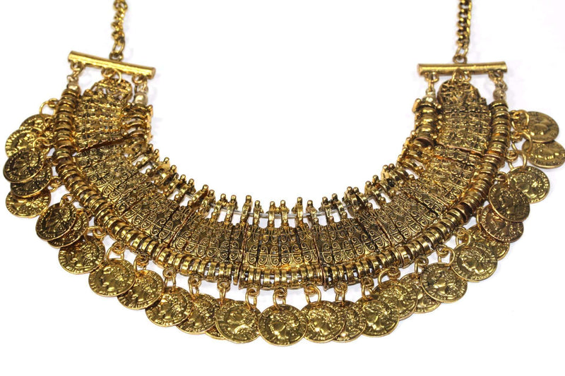 Gold Tone Tribal Style Coin Statement Necklace | Wild Lotus