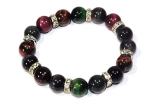 Multi Color Agate & Pave Charms Yoga Bracelet