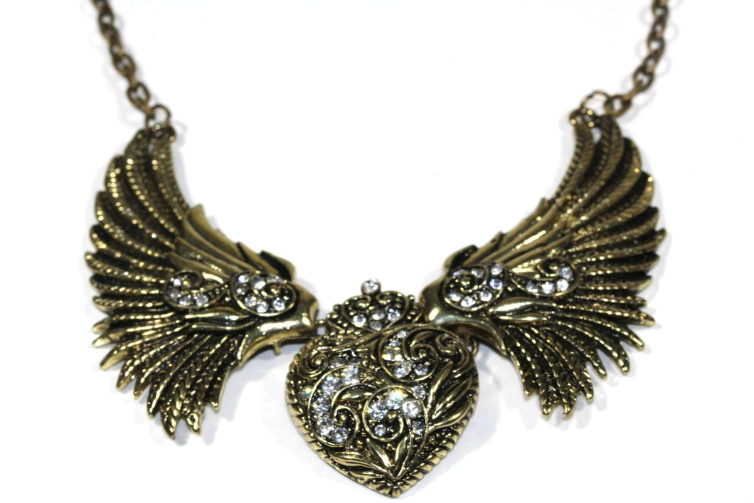 Antique Gold Tone Angel Wings Heart Necklace