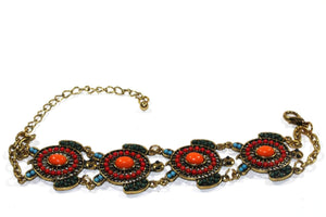 Red & Blue Colorful Bead Drop Turtle Bracelet