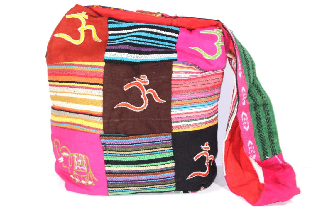 Mixed Symbols Durrie Patchwork & Pop Art Sling Jhola Bag