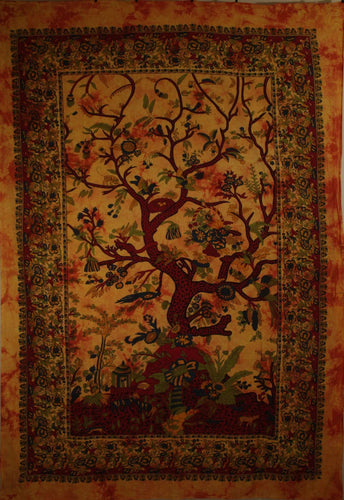 Saffron Tree of Life Birds Tapestry