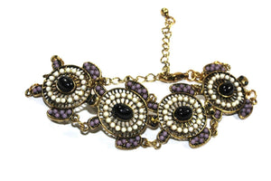 White & Purple Colorful Bead Drop Turtle Bracelet