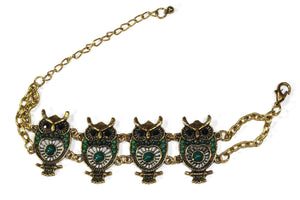 Green Colorful Bead Drop Perched Owl Bracelet