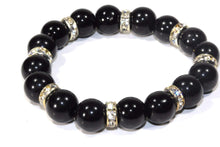 Load image into Gallery viewer, Black Agate & Pave Charms Yoga Bracelet