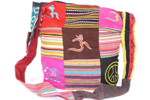Mixed Symbols Durrie Patchwork & Pop Art Sling Jhola Bag by Wild Lotus