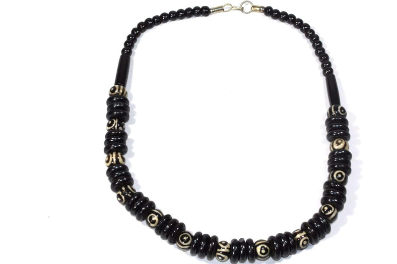 Black Horn & Bone Tribal Style Necklace