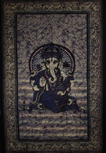 Purple & Blue Ganesha Holding Lotus Flower In Batik Style Tie Dye Tapestry