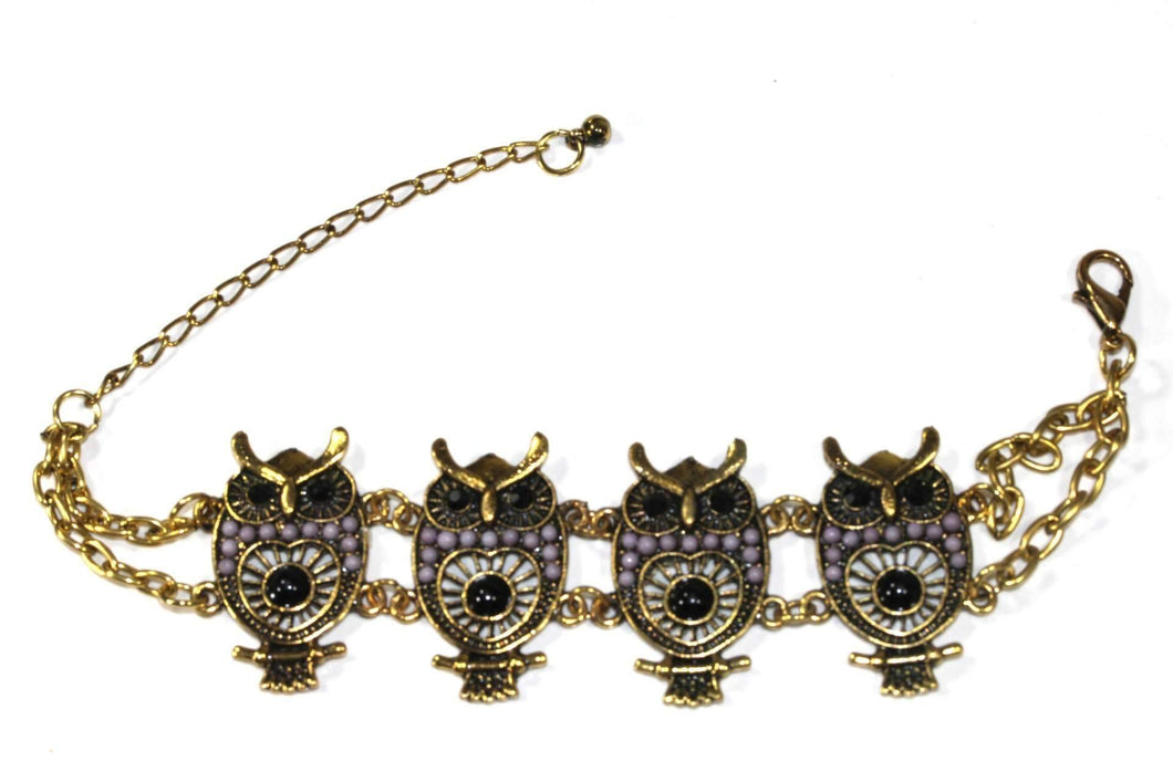 Purple Colorful Bead Drop Perched Owl Bracelet