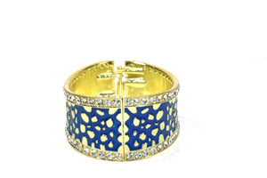 Blue Leopard Design Hinged Cuff Bangle