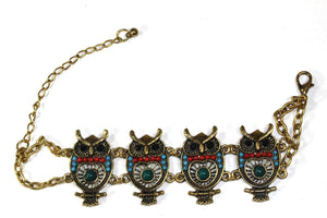 Multi Colorful Bead Drop Perched Owl Bracelet