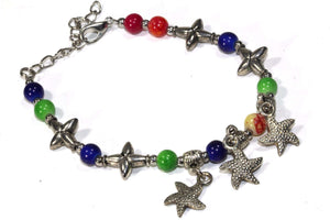 Multi Color Starfish Charms Bracelet