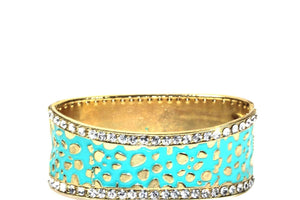Turquoise Leopard Design Hinged Cuff Bangle