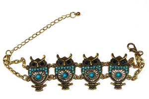 Turquoise Colorful Bead Drop Perched Owl Bracelet