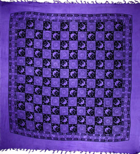 Purple Checkered Sun & Moon with Tassels Tapestry