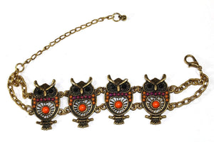 Orange Colorful Bead Drop Perched Owl Bracelet