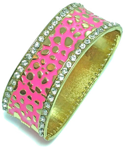 Dark Pink Leopard Design Hinged Cuff Bangle
