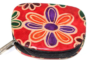 Orange Groovy Flower Coin Purse