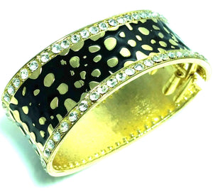 Black Leopard Design Hinged Cuff Bangle