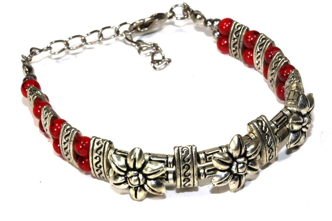 Silver Tone Blooming Flowers Antique Style Bracelet
