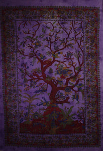 Violet Tree of Life Birds Tapestry