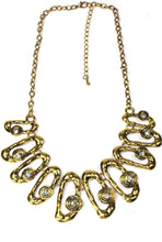 Load image into Gallery viewer, Antique Gold Hammered Ovals Necklace