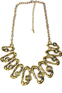 Antique Gold Hammered Ovals Necklace