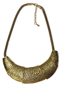 Gold Tone Tribal Hammered Necklace